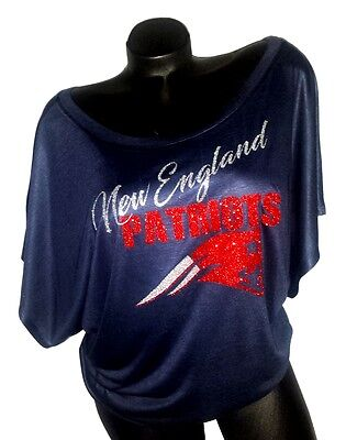 New England Patriots Navy Flowy Draped Slv. Dolman Tee ~ Shiny Ltrng.Super Bowl!