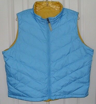Coldwater Creek Women's Reversible Puffer Vest Goose Down Blue Yellow Size Xl
