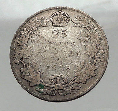 1918 CANADA - UK King George V - Authentic Original SILVER 25 CENTS Coin i63056