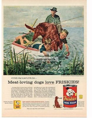 1956 Friskies Dog Food Fishing For Frogs art Douglas Crockwell Vtg Print Ad