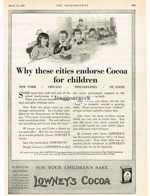 1920 Lowney's Cocoa School Children Drinking Hot Chocolate art Vtg Print Ad