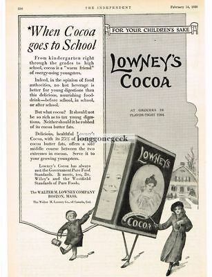1920 Lowney's Cocoa kids walking to school in snow art Vtg Print Ad