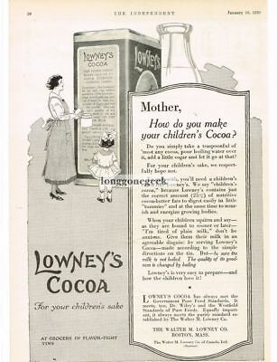 1920 Lowney's Cocoa mother how do you make it for your children art Vtg Print Ad