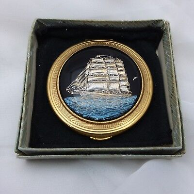 Vintage 1950s RARE Kigu sailing ship powder compact box carved lucite Stratton