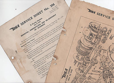 2 X Bsa Service Sheets - Gearbox Removal & Re-Assembly B Group Models 1946-48