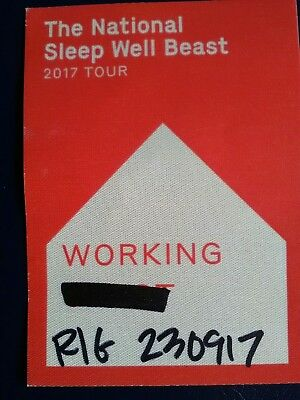 THE NATIONAL 2017 Tour BACKSTAGE Working PASS MANCHESTER 23rd Sept. Mega RARE!