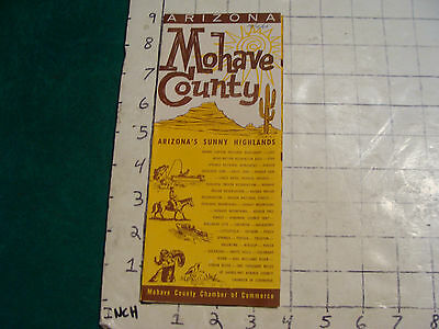 vintage HIGH GRADE travel brochure:  MOHAVE COUNTY w map 1960
