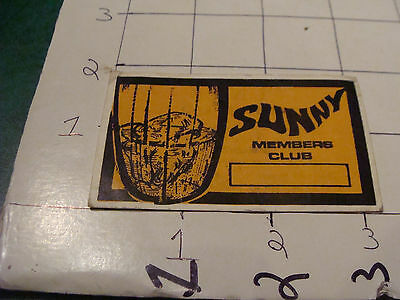 vintage paper -  business card - SUNNY MEMBERS CLUB tel aviv israel