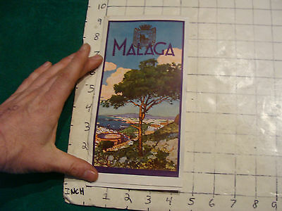 vintage Travel item: SPAIN brochure--MALAGA 1950'S great color cover