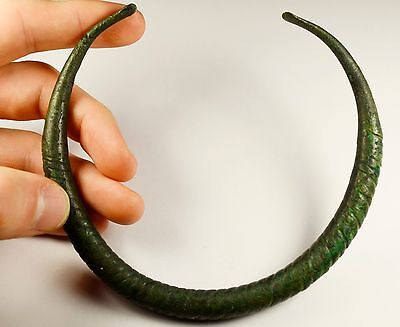 Richly Decorated Ancient Massive Greek Bronze Torc / Torq / Torque - 500 Bc