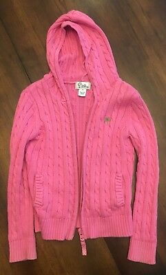 Lilly Pulitzer white label girls full zip hooded sweater pink size 5