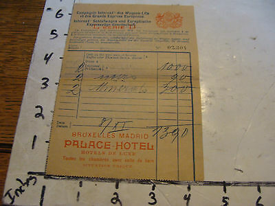 vintage travel paper: BRUXELLES-MADRID PALACE-HOTEL early receipt