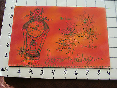 Vintage Hand Made Christmas Card: Joyous Holidays signed Loraine