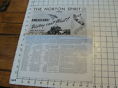 Vintage Newspaper:THE NORTON SPIRIT, worester mass, AMERIANS VICTORY CANT WAIT