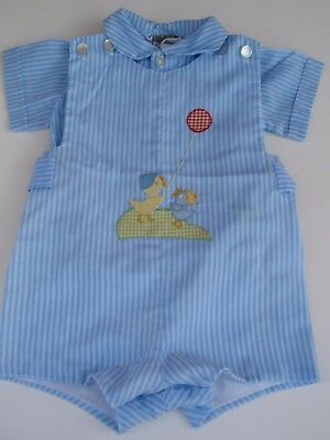 Vintage Jayne Copeland Baby Boy Two Piece Romper Set Striped Embroidered Ducks