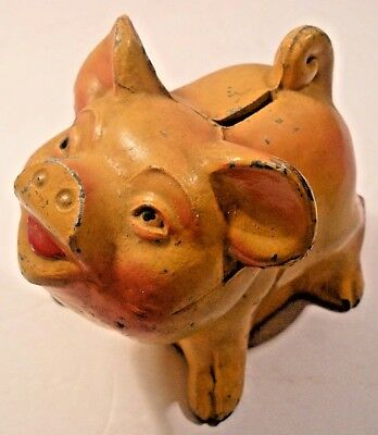 Vintage Metal Pig Painted Still Bank