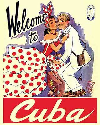 Vintage Antique Rare  POSTER  1950's  CUBA   Travel Tourism  Havana