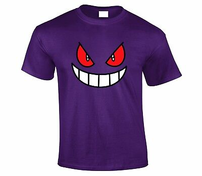 Gengar Face Pokemon TV Show Catchem All T shirt Top Unisex Tshirt