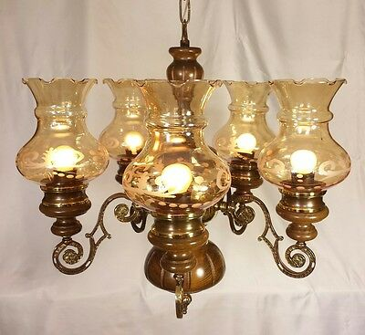 French Country Vtg Oil Lamp Style Cabin Farmhouse Wood Brass Chandelier 5-light
