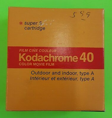 Kodachrome 40 Super 8 Cartridge 15m 50ft KMA 464P Type A SEALED