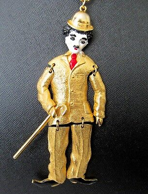 "Charlie Chaplin Pendant Articulated Gold Tone Little Tramp Silent Movies 5 1/2""L"