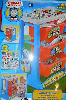 Plastic drawing colouring Thomas & Friends 3 activity drawers table Stamps VGC