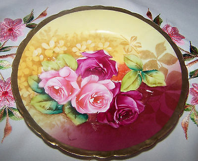 Vintage Hand Pained Germany Newport Belle Artist Floral Signed Plate