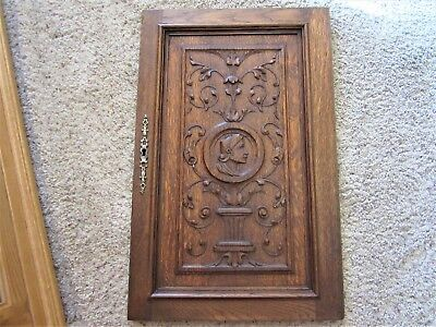 GOTHIC! Tiger Oak Carved Furniture Panel Victorian Jacobean Knight Cabinet Door