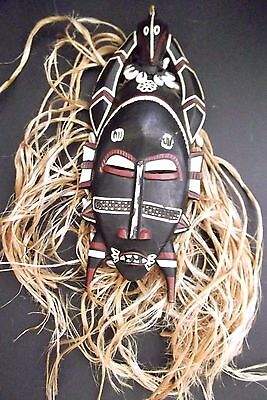 Genuine Wooden Hand Carved Tribal African Mask With Hair