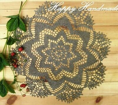 HaHa Large Linen Grey Crochet 43cm (17 inch) Round Doily /wedding/ made-to-order
