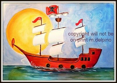 Pirate Ship print poster nursery boy bedroom wall art personalized 11x17 decor