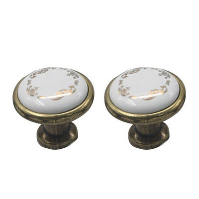 A44 Pack of 2 Europe Ceramic Drawer Door Cabinet Cupboard Pull Handles Knobs (Co