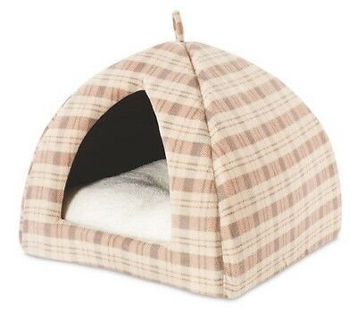 BN Luxury Plush Beige Tartan Cat Igloo Cave Tent Cushion Den Bed or Dog