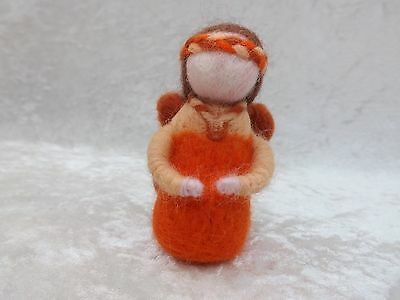 Beautiful Handmade Orange NEEDLE FELTED Fairy Needle felting fairies