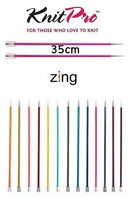 KnitPro Zing Straight / Single Point Knitting Needles - 35cm Length - All Sizes