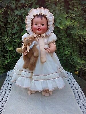 "Big Beautiful 26"" Vintage Antique Composition & Cloth OOAK Baby Doll"