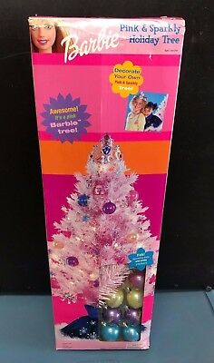 Barbie Pink & Sparkly Holiday Tree with ornaments NEW in Box! Great Gift Idea!