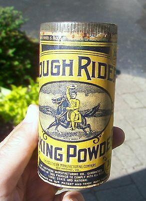 Full / Unopened Rough Rider Baking Powder Tin - Teddy Roosevelt Graphics!