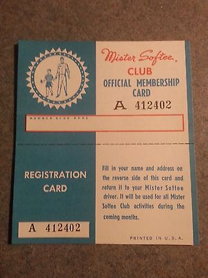 Vintage Mister Softee Club Official Membership Card Circa 1960's Rare!!