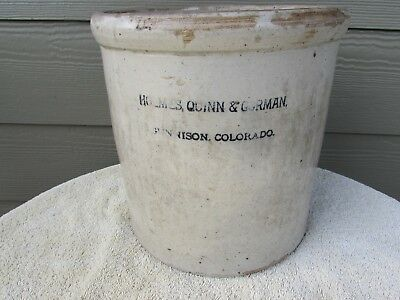 RARE Stoneware Advertising Crock-Holmes, Quinn & Gorman Gunnison Colorado CO