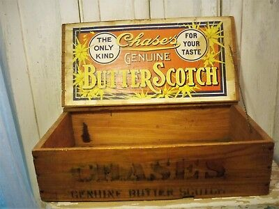 Rare OLD 1906 CHASE'S GENUINE BUTTERSCOTCH Candy Wood Store Counter DISPLAY BOX