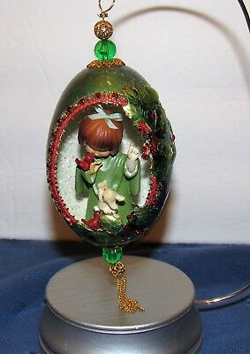 Handcrafted Genuine Goose Egg Christmas Ornament Carved & Decorated Free Ship