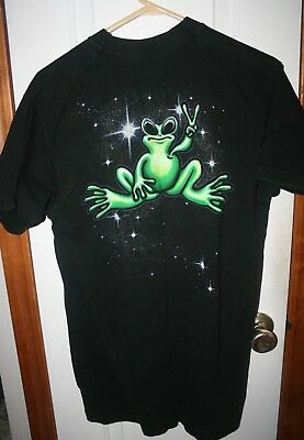 Vintage PEACE FROGS 100% Cotton Black Tshirt w Bright Green Frog,Size L
