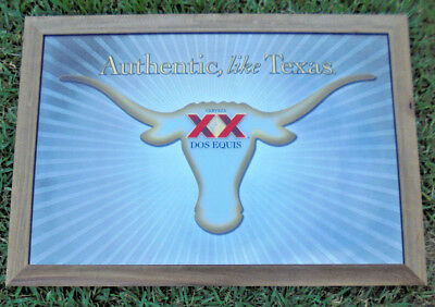 """Dos Equis XX Cerveza Longhorn Beer Mirror """"Authentic, like Texas"""" 28"""" x 40"""" New"""