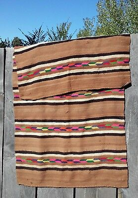 Antique Rio Grande Blanket Early Native American Serape 1900 Old Weaving Textile
