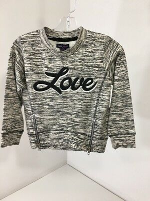 Limited Too Girls Love Marled Sweatshirt W/zipper Accents Charcoal/gray Sz 4 Nwt