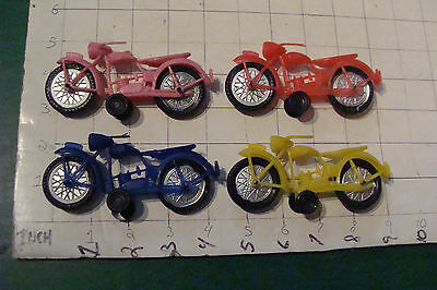 vintage thin plastic 4 MOTORCYCLEs v cool