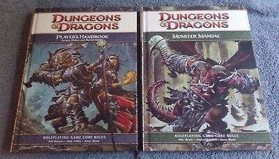 Lot of 2 HardCover Dungeons & Dragons Monster Manual and Players Handbooks