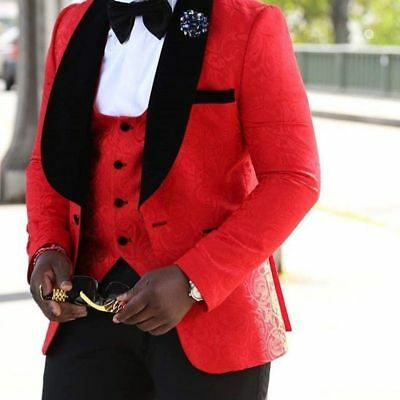 3 Piece Men Red Suit Groom Tuxedos Bridegroom Formal Wedding Suit Custom Made