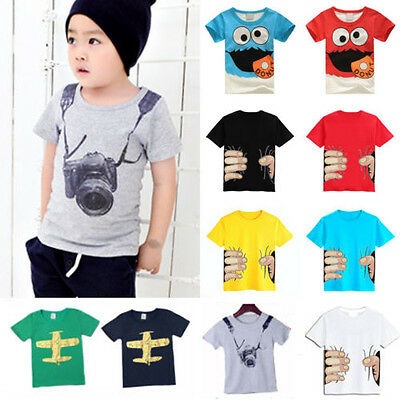 Kids Boys T-shirt Cartoon Printed Cotton Short Sleeve Summer Tops Shirts Tee